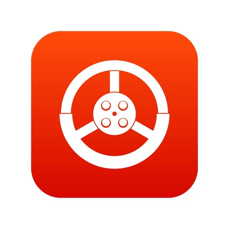 Steering wheel icon digital red for any design isolated on white vector illustration