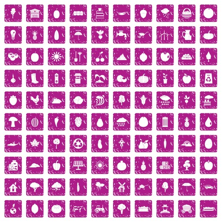 100 productiveness icons set in grunge style pink color isolated on white background vector illustration Çizim