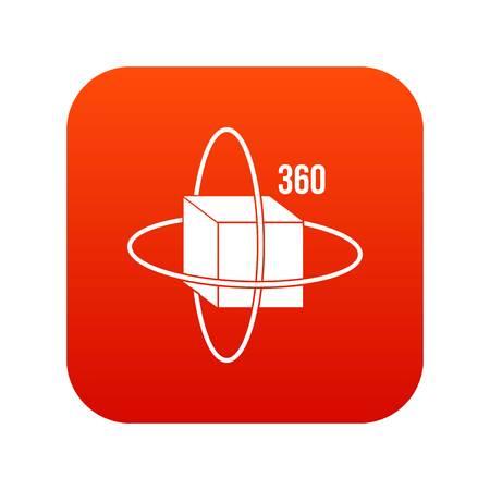 Virtual cube icon digital red