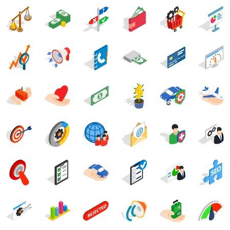 Maintenance fee icons set, isometric style