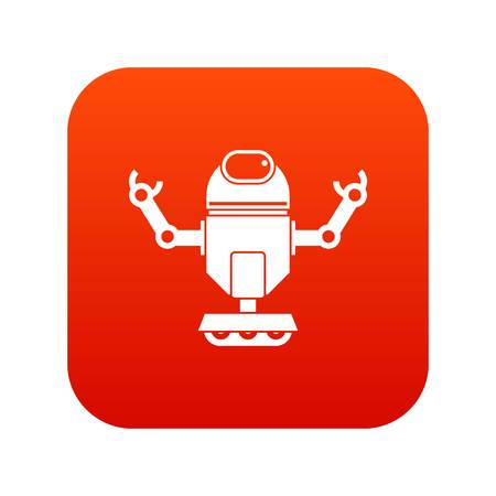 Robot on wheels icon digital red for any design isolated on white vector illustration