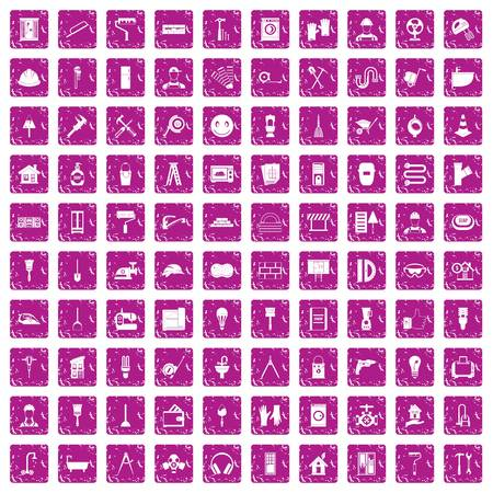 100 renovation icons set in grunge style pink color isolated on white background vector illustration
