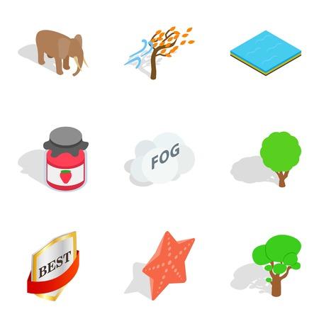Wildlife sanctuary icons set, isometric style Illustration