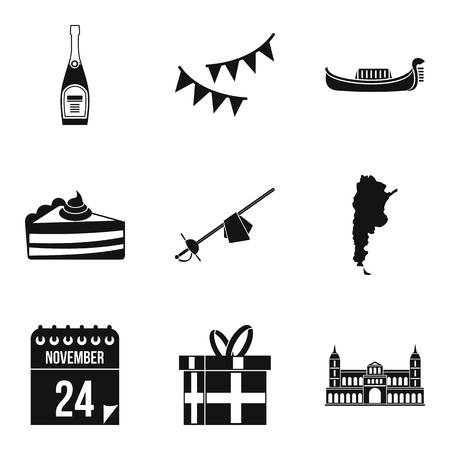 Wine party icons set. Simple set of 9 wine party vector icons for web isolated on white background