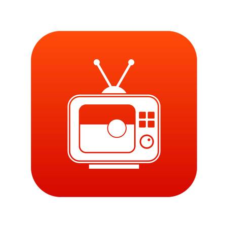 Soccer match on TV icon digital red for any design isolated on white vector illustration