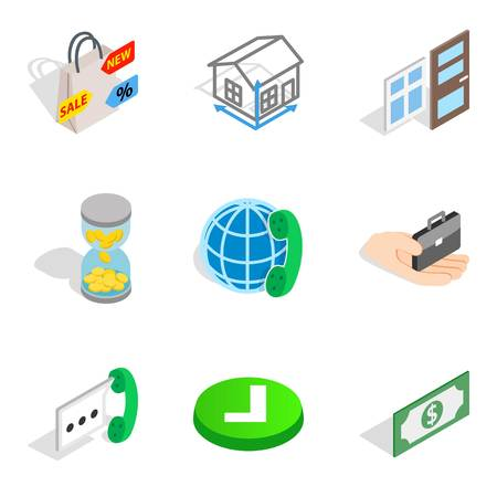 Contractor icons set. Isometric set of 9 contractor vector icons for web isolated on white background