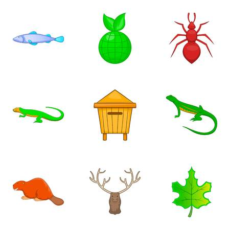 Nature reserve icons set. Cartoon set of 9 nature reserve vector icons for web isolated on white background Illustration
