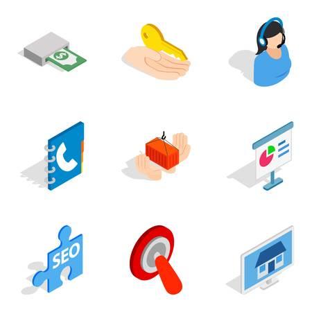Work idea icons set. Isometric set of 9 work idea vector icons for web isolated on white background