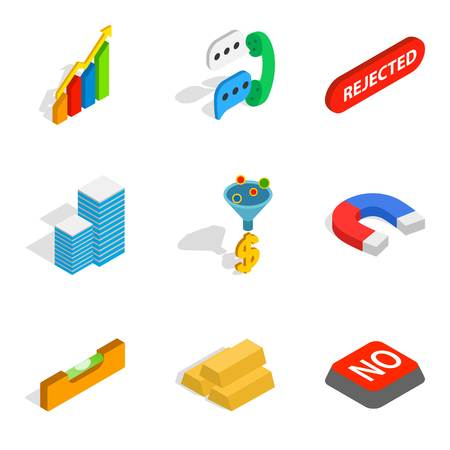 Commercial idea icons set, isometric style