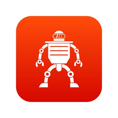 Humanoid robot icon digital red for any design isolated on white vector illustration