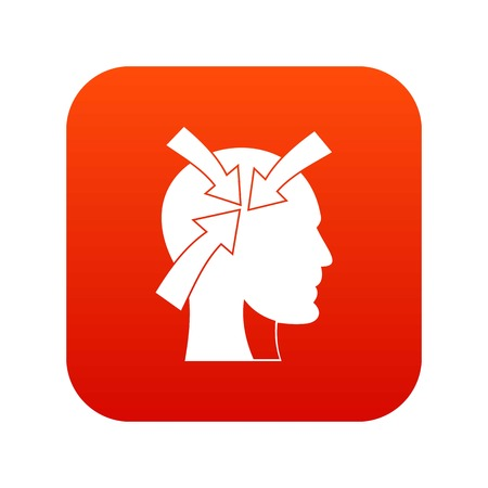 Head with arrows icon digital red