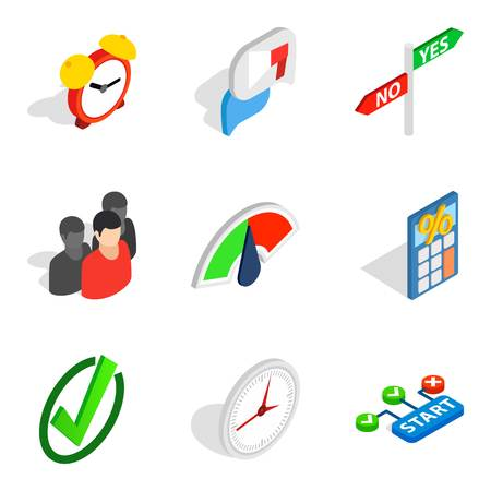 Signal icons set, isometric style Illustration