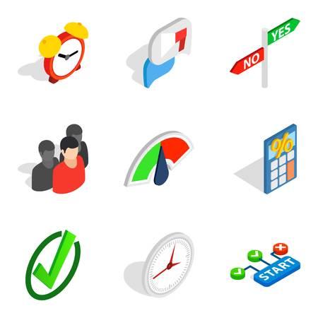 Signal icons set, isometric style Vettoriali