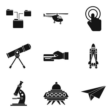 Wireless communication technology icons set, simple style Çizim