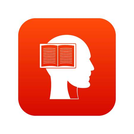 Head with open book icon digital red