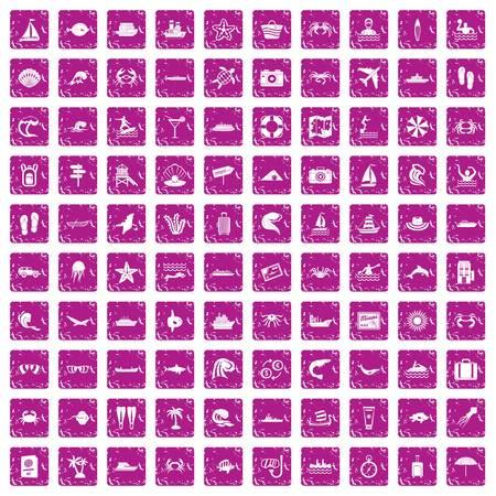100 sea life icons set grunge pink