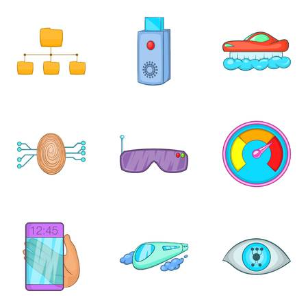 Wireless connection icons set, cartoon style
