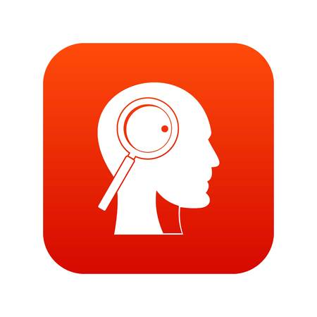 Magnifying glass in head icon digital red