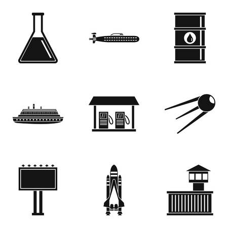 Professional engineer icons set, simple style Vettoriali