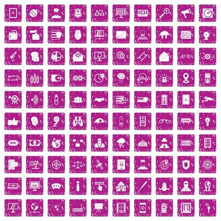 100 security icons set grunge pink Illusztráció