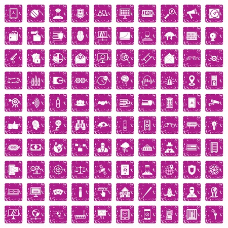 100 security icons set grunge pink Illustration