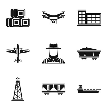 Branch of production icons set, simple style Illustration