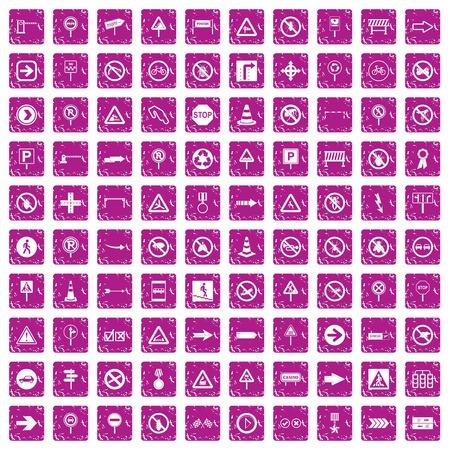 100 road signs icons set grunge pink