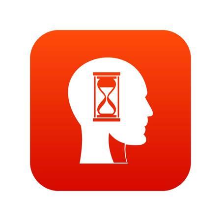 Hourglass in head icon digital red Illusztráció