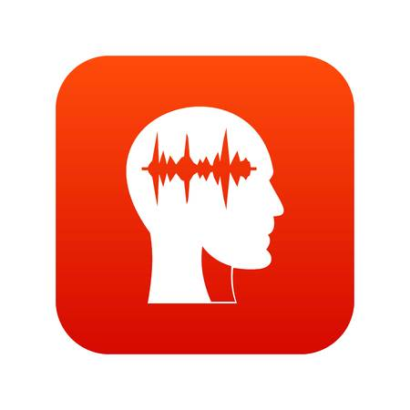 Sound wave icon digital red