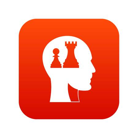 Head with queen and pawn chess icon digital red