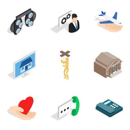 Labour law icons set, isometric style