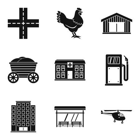 Industrial fragment icons set, simple style