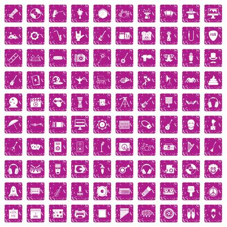 100 show business icons set grunge pink