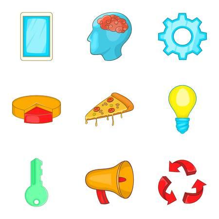 Work flow icons set, cartoon style Illustration