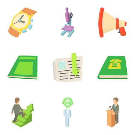 Working conditions icons set, cartoon style Illustration