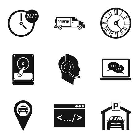 Working hours icons set, simple style Illustration