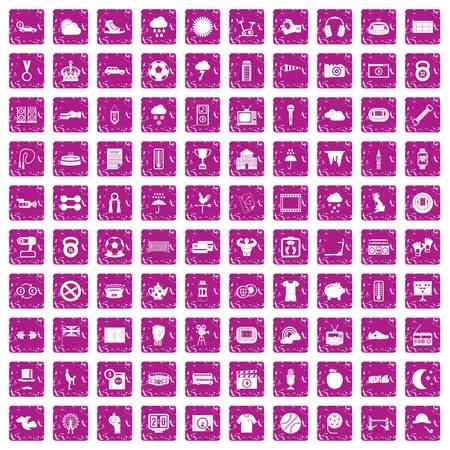 100 soccer icons set grunge pink