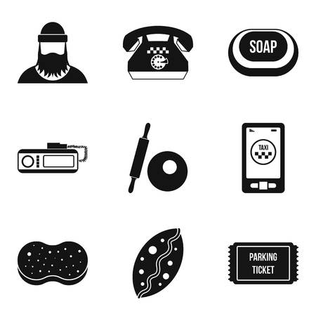 Working profession icons set, simple style