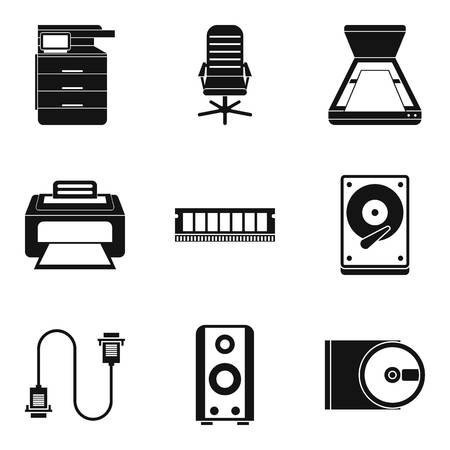Job environment icons set, simple style