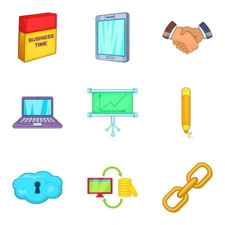 Production icons set, cartoon style