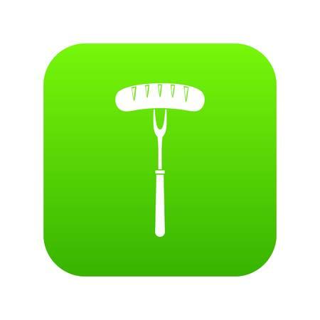Sausage on bbq fork icon digital green