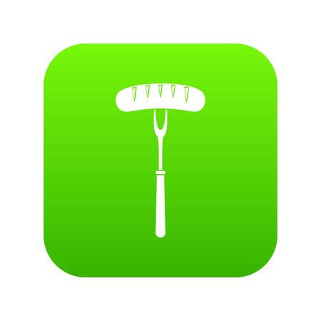 Sausage on bbq fork icon digital green