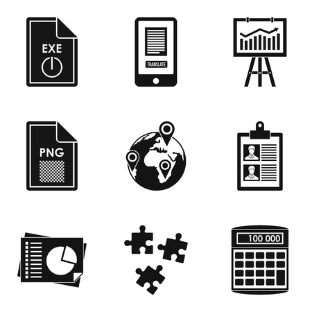 Production environment icons set, simple style