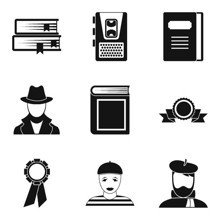 Writer icons set, simple style