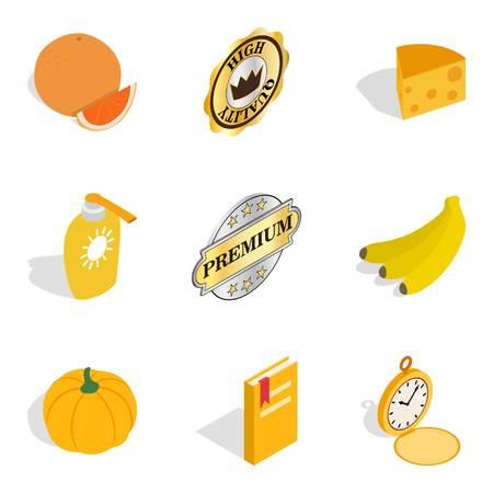 Quality food icons set, isometric style