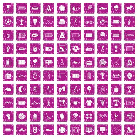 100 stadium icons set in grunge style pink color isolated on white background vector illustration