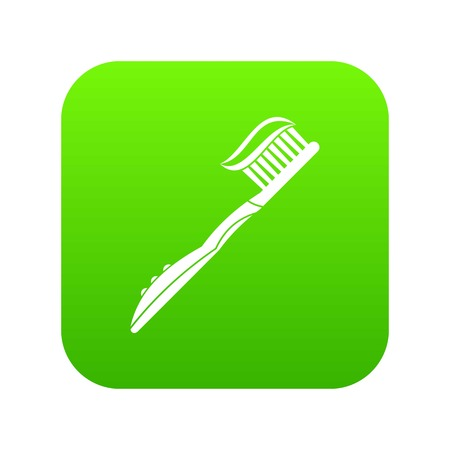 Toothbrush with toothpaste icon vector illustration
