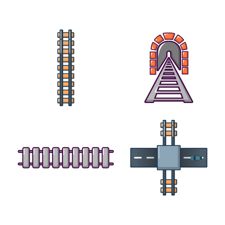 Railway icon set, cartoon style