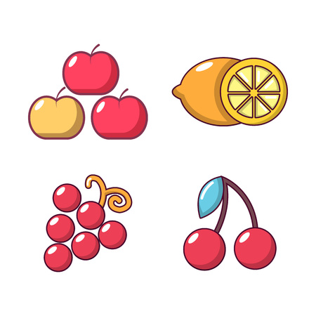 Fruits icon set, cartoon style