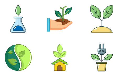 Plant icon set, cartoon style Banque d'images - 97618129